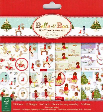 "Belle & Boo At Christmas 8"" x 8"" Glitter Die Cut 3D Decoupage Pad by Trimcraft"